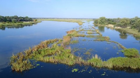 Aerial landscape in Okavango delta on Namibia and Angola border near Rundu. River with shore and green vegetation after rainy season.
