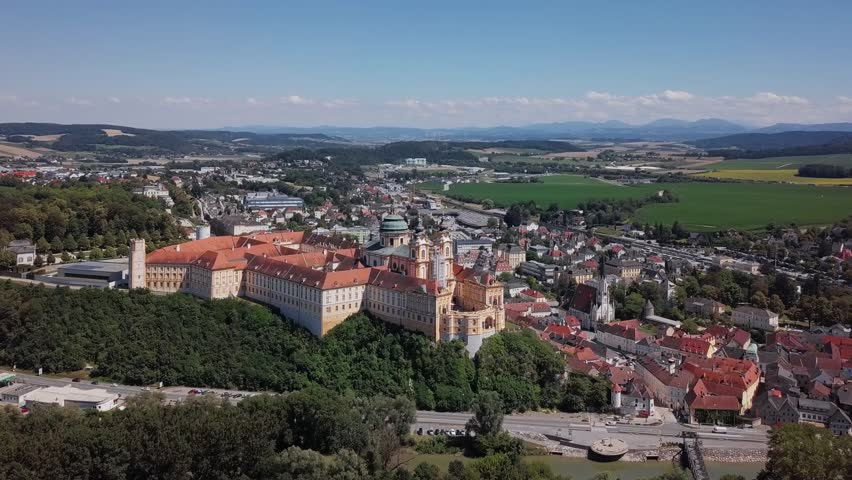 Aerial panorama of the famous St. Peter and Paul Church in Melk Benedictine Abbey, Wachau Valley, Lower Austria