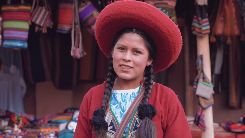 Portrait of Cute Peruvian girl smiling in slow motion | Shutterstock HD Video #1013346845