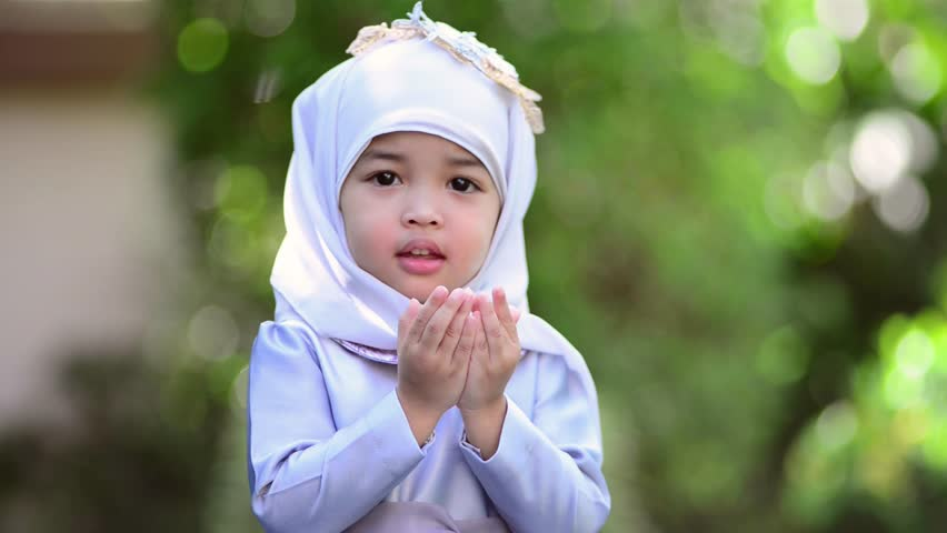 Muslim Kid Girl Praying Dua Stock Footage Video (100% Royalty ...