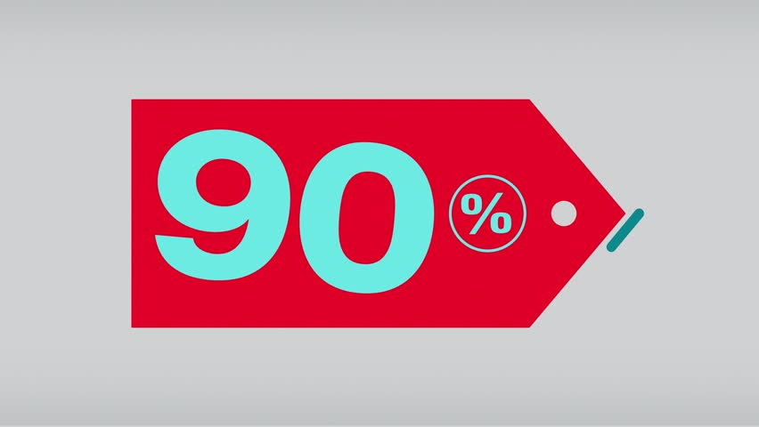 label with percent discount that appear at the centre of the screen, and then disappear, with a bounce effect, complete set from 10 to 90 percent, loop ready, alpha mask for background change. In the