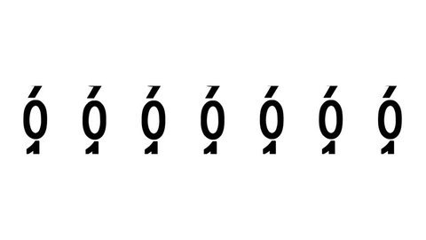 Black numbers of the counter on white background displays one million, 3d animation.