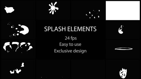 Splash Elements Pack. Hand drawn and frame by frame animated. Just drop elements to your project. Easy to customize with your favorite software. Alpha channel included. More elements in our portfolio