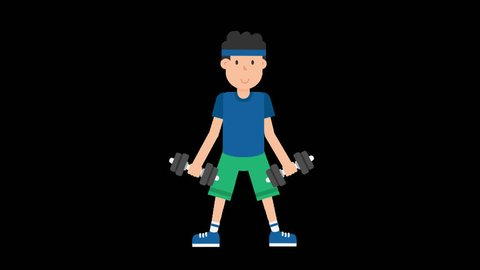 Animated man wearing a blue t-shirt, green shorts and a blue headband is working out using a pair of dumbbells and doing biceps curls