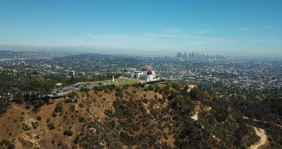 Aerial view of Griffith Observatory and downtown of Los Angeles, California   Shutterstock HD Video #1013535185