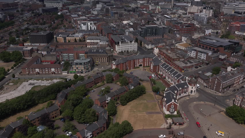 Aerial view of Liverpool Merseyside with main city and terrace housing 4K