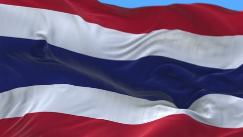 4k seamless Close up of Thailand flag slow waving with visible wrinkles.A fully digital rendering,The animation loops at 20 seconds.flag 3D animation with alpha channel included. cg_06336_4k