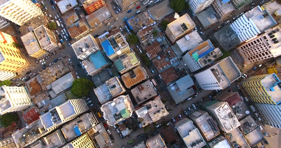 Aerial clip of Kariakoo town, Tanzania.