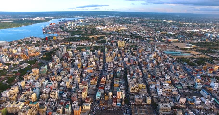 Aerial clip of Kariakoo town (Tanzania) and his river.