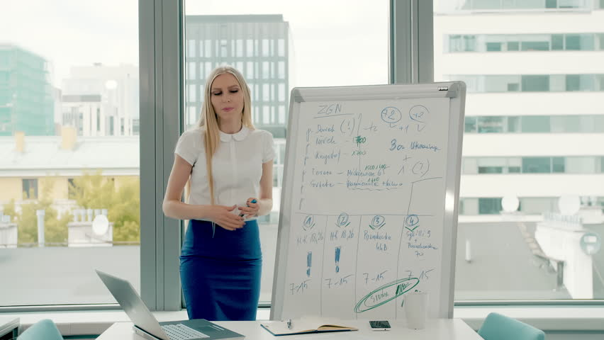 Business woman making presentation on whiteboard. Young stylish woman with long blond hair writing on whiteboard while making presentation in modern office against window. | Shutterstock HD Video #1013575805