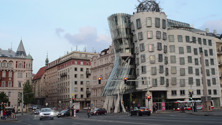 Prague, Czech Republic - 22 May 2018: Dancing House Ginger and Fred. It was designed by the Croatian architect Vlado Miluni in cooperation with the Canadian Frank Gehry