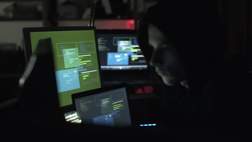 Black hat hacking a computer network, accessing data and stealing private information, cyber security and malware concept | Shutterstock HD Video #1013580545