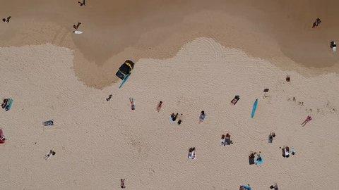 Aerial shot of waves coming in over bondi beach, sydney, new south wales, australia