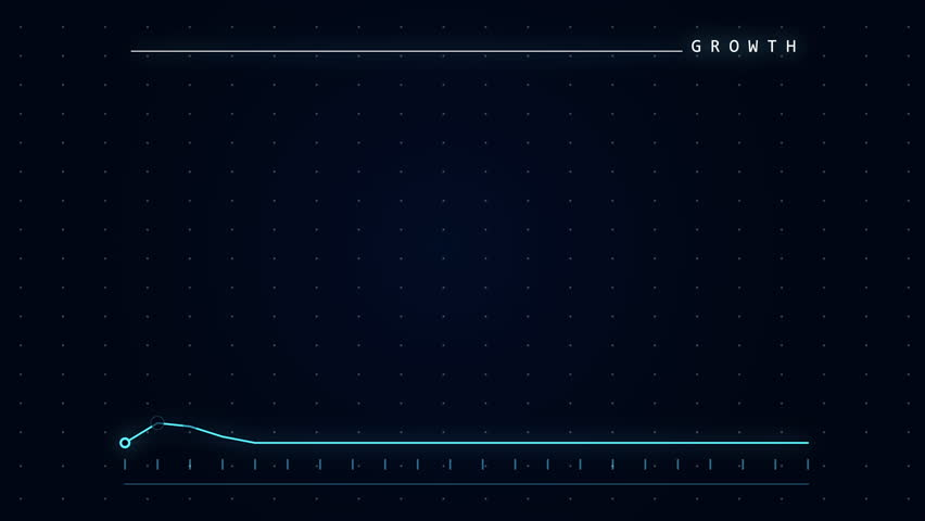 Linear graph showing positive trends and growth. 4k animation. Blue and black animated graph.