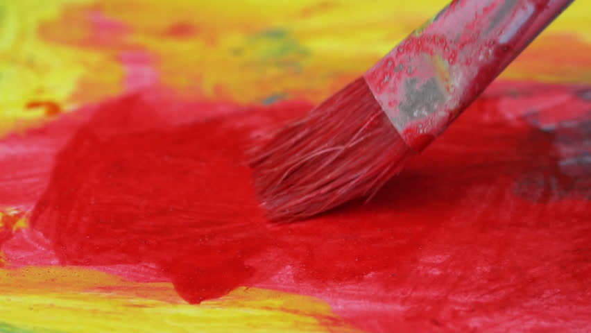 Artist paints a picture with a brush  | Shutterstock HD Video #1013598425