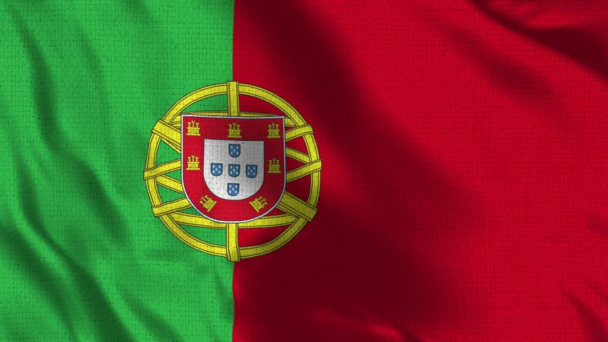 Portugal Flag Loop - Realistic 4K - 60 fps flag of the Portugal waving in the wind. Seamless loop with highly detailed fabric texture. Loop ready in 4k resolution