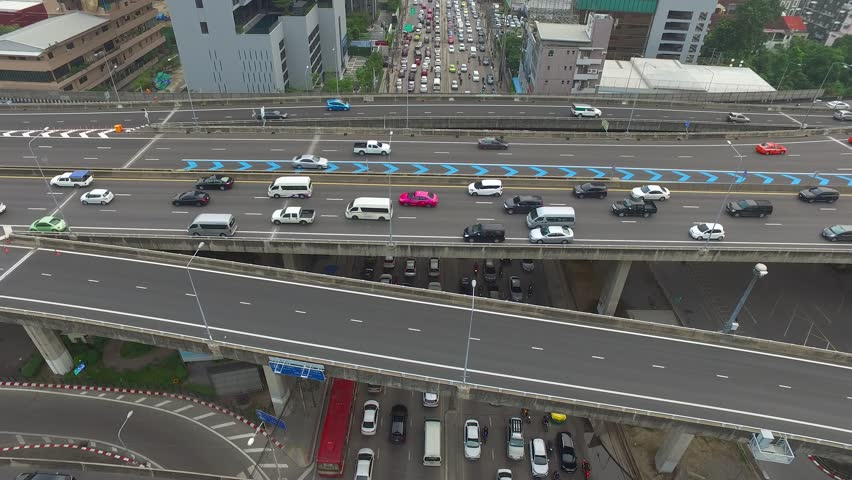 Aerial view of traffic over express way in heart of  bangkok Thailand  | Shutterstock HD Video #1013620985