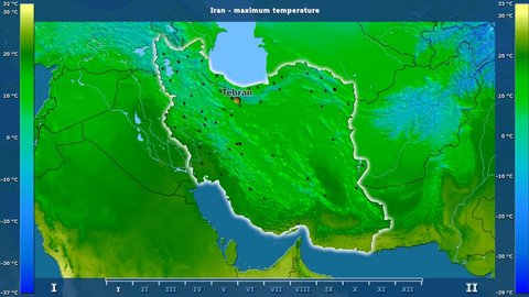 Maximum temperature by month in the Iran area with animated legend - English labels: country and capital names, map description. Stereographic projection