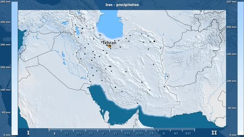 Precipitation by month in the Iran area with animated legend - English labels: country and capital names, map description. Stereographic projection