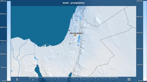 Precipitation by month in the Israel area with animated legend - English labels: country and capital names, map description. Stereographic projection