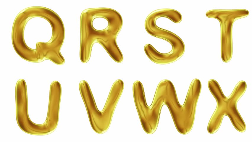 Alphabet from gold isolated on white background. The letter Q R S T U V W X . alpha channel 3d rendering 4K