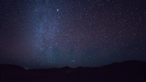 night time timelapse of the stars in the sahara desert morocco