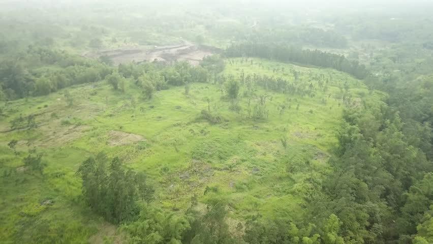 Aerial shot of Mount Merapi, Yogyakarta,Indonesia