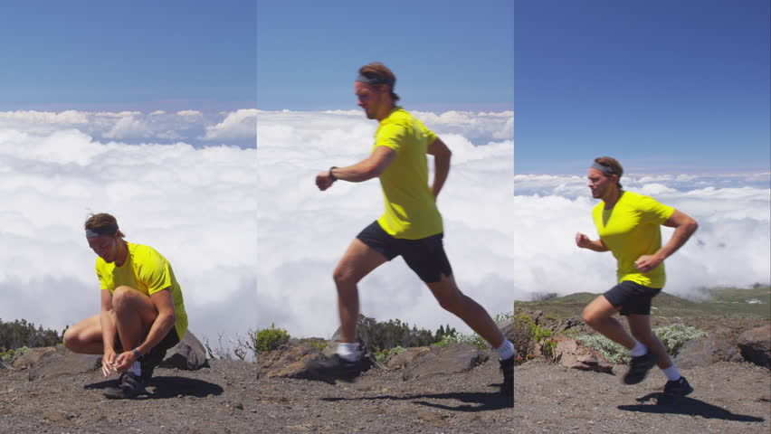 Vertical Videos of Running Man. Running male runner athlete jogging on mountain during sunny day. Young man is exercising in nature in sportswear. SLOW MOTION. | Shutterstock HD Video #1013700095