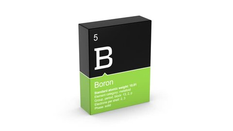 Boron element symbol from the periodic table and much information on colored box 3D animation