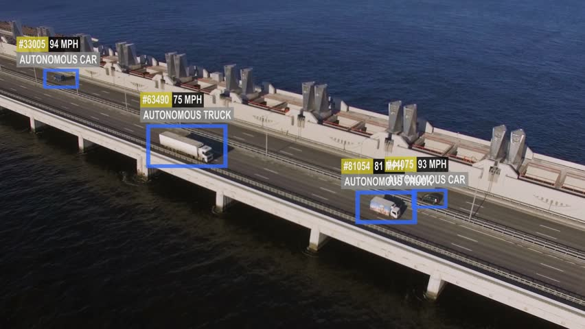 Driverless or autonomous car aerial view. Traffic passing by a bridge. Plate number, miles per hour and ID number displaying. Future transportation. Artificial intelligence. Self driving.