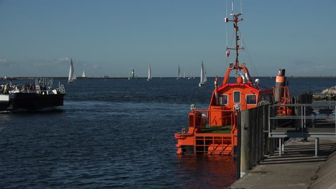 Maritime traffic at the harbour entrance of Warnemuende, Rostock, Mecklenburg-Western Pomerania, Germany