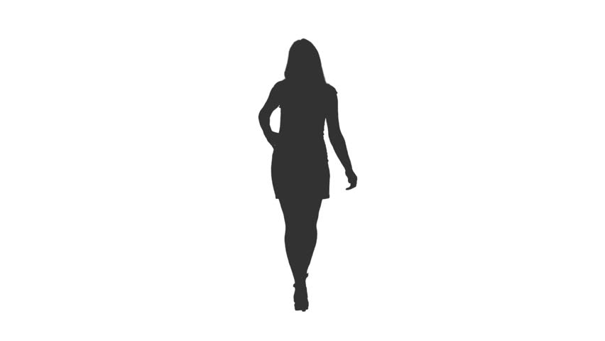 Silhouette of young woman walking in mini skirt with hands on hips, Front view, Full HD footage with alpha transparency channel isolated on white background