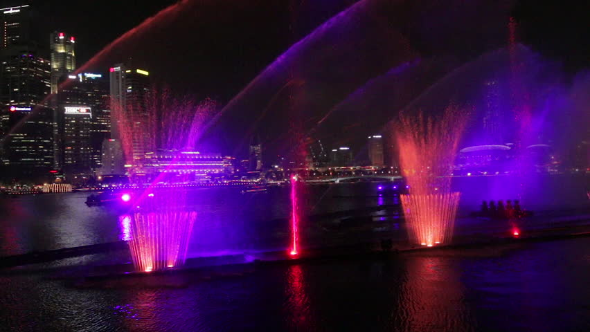 Rhythamic water lightshow in Singapore