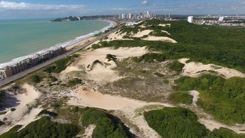 Drone view of sand dunes of Natal State Park (Parque das Dunas), the largest urban park on dunes  in Brazil - Natal, Rio Grande do Norte