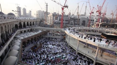 Mecca Saudi Arabia; February 2014 Al Haram Mosque is under construction.Islam's holiest site Kaaba. Here we can see the pilgrims during Umrah pilgrimage in Mecca Saudi Arabia; February 2014 ,