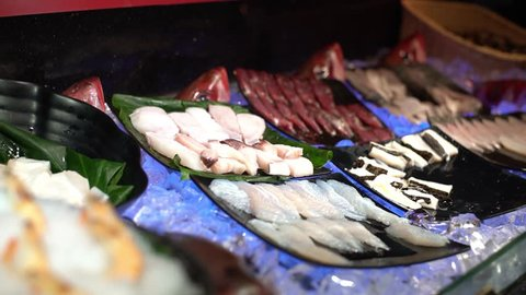 4K, fresh raw seafood in buffet line at Taiwan. Prawns on ice ready to grill for lunch at restaurant. Delicious food for cooking traditional Taiwanese hotpot soup. Healthy meals dishes for dinner -Dan