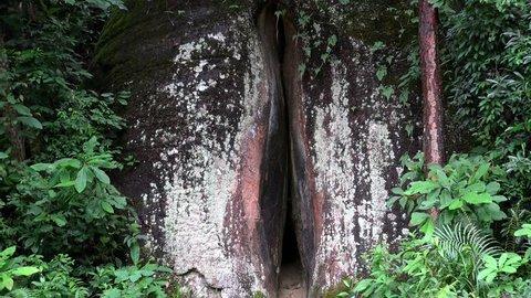 Yin Yuan Stone  in the Mount Danxia geopark. Guangdong, China