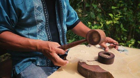 Leather puppet maker in Jogjakarta, Indonesia
