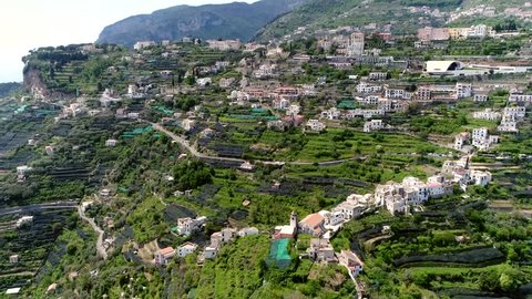 Aerial footage flight over Ravello church also known as Raviello town and comune situated above the Amalfi Coast in the province of Salerno Campania southern Italy and is popular tourist destination