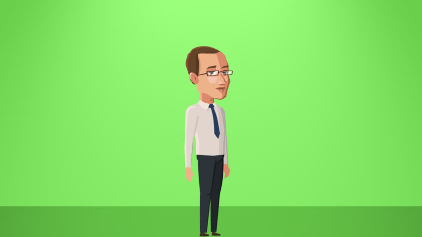 Cartoon Situation Tom Businessman. Man Character speaks by Mobile Phone, Smartphone Animation Alpha Channel | Shutterstock HD Video #1013874095