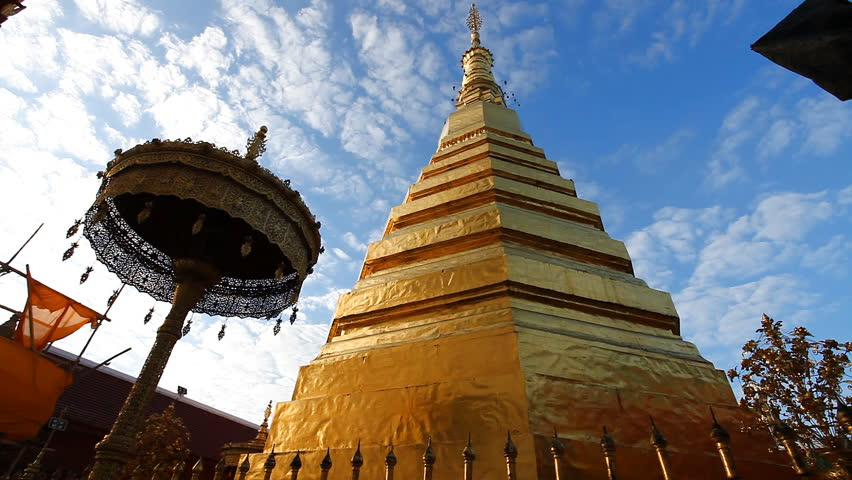 Wat Prathat Cho Hae in Phrae is popular and worshiped by Thai people. | Shutterstock HD Video #1013889155