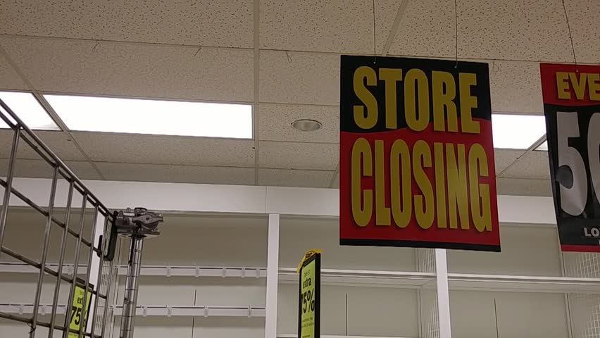 Going Out Of Business - Store Closing Signs - Sale - Pan | Shutterstock HD Video #1013908355