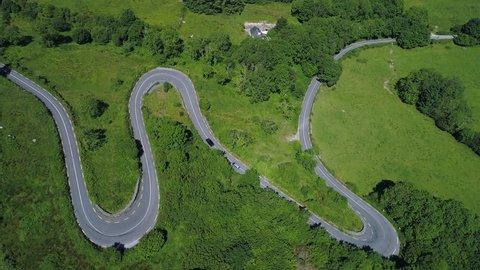 Aerial top down view of corkscrew road, The Burren Ireland
