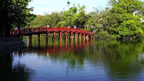 Hanoi/Vietnam - 4 July 2018: Hoan Kiem lake  in Hanoi.