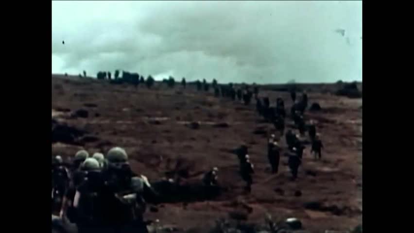 CIRCA 1960s - Troops on patrol in Vietnam in 1965.