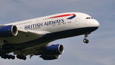 BRITISH AIRWAYS AIRBUS A380-841 G-XLEL at HEATHROW AIRPORT ENGLAND - June 7, 2018