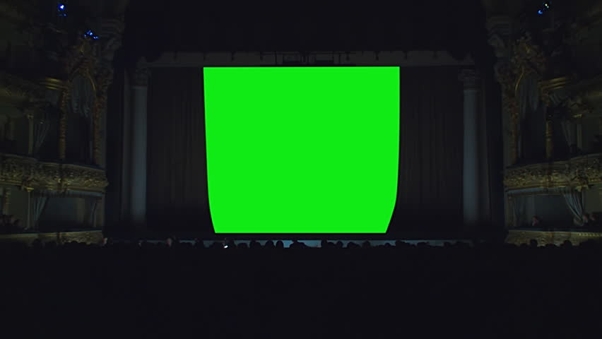 On the stage of the theater, the light goes out, the curtain opens against a green background, green screen, chroma key  | Shutterstock HD Video #1013993975