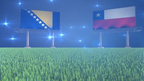 Soccer, football, Bosnia and Herzegovina, Chile, flag, flags, ball, lawn, grass, black, white, green, blue, billboard, bouncing, rotating, flying, bounce, spin, world, cup, game, match, result, sports