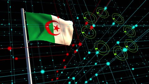 3D animation concept of a cyber attack with an Algerian flag waving on a flagpole in the background; depicting data security issues between nations.