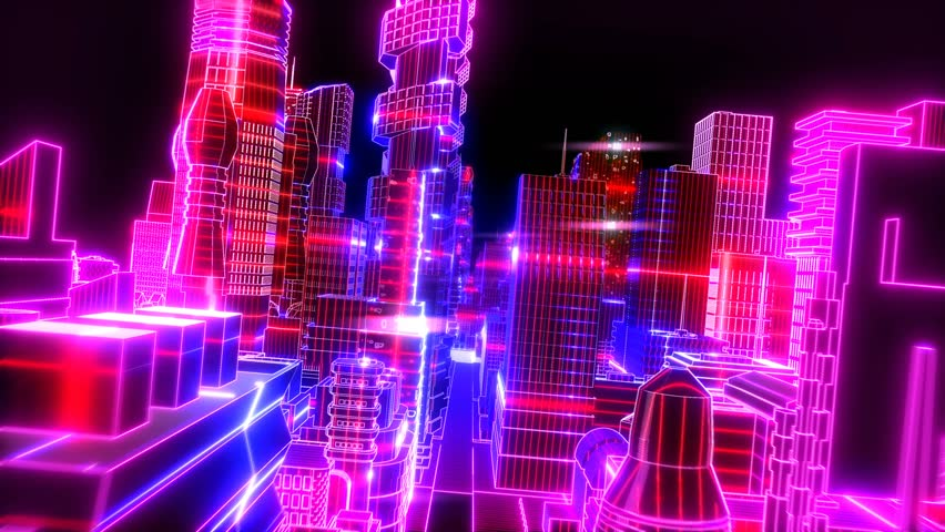 Neon low poly citiscape animation. Seamless retro futuristic background. | Shutterstock HD Video #1014068825